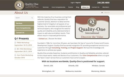 Screenshot of About Page quality-one.com - About Quality-One | Quality and Reliability Professionals | Quality-One - captured Sept. 28, 2018