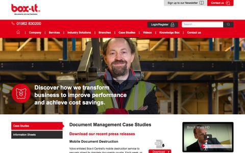 Screenshot of Case Studies Page boxit.co.uk - Case Studies - Box-it - captured June 2, 2017
