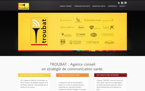 Screenshot of Home Page troubat.com - TROUBAT Agence Conseil en Stratégie de Communication Santé - captured Dec. 18, 2015