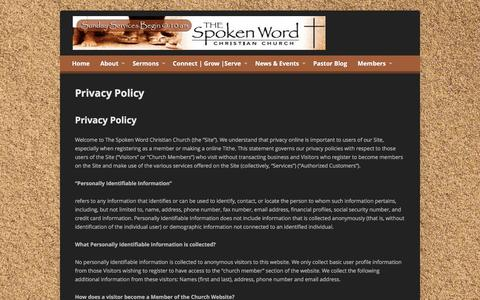 Screenshot of Privacy Page thespokenwordchurch.com - Privacy Policy - Spoken Word Christian Church - captured Feb. 15, 2016