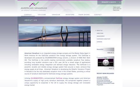 Screenshot of About Page americanvanadium.com - About Us   American Vanadium - investing in vanadium for US domestic supply of vanadium - captured Feb. 6, 2016