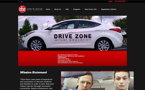 Screenshot of Home Page drivezone.net - Drive Zone - Driver Education School -Indianapolis, IN - captured Feb. 9, 2016