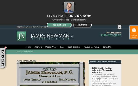 Screenshot of Maps & Directions Page jamesnewmanlaw.com - Directions | James Newman, P.C. - captured Oct. 13, 2018