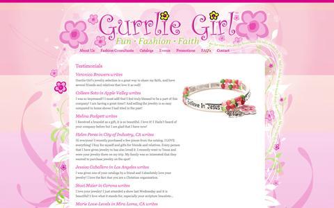 Screenshot of Testimonials Page gurrliegirl.com - Find a Fashion Consultant - Gurrlie Girl™ - captured Sept. 30, 2014