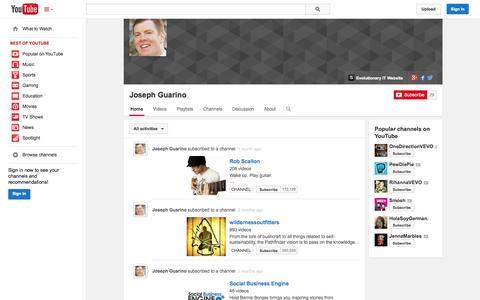 Screenshot of YouTube Page youtube.com - Joseph Guarino  - YouTube - captured Oct. 22, 2014
