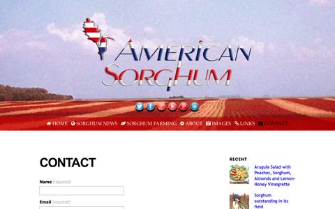 Screenshot of Contact Page americansorghum.com - Contact American Sorghum - captured July 25, 2016