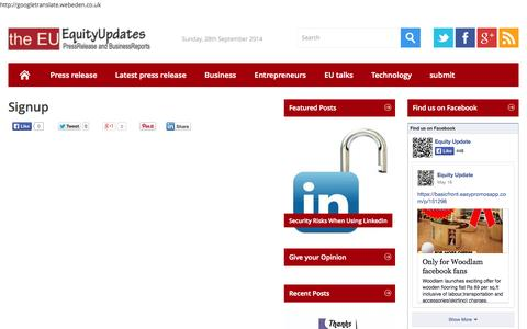Screenshot of Signup Page equityupdates.com - Signup - equityupdates.com - captured Sept. 30, 2014