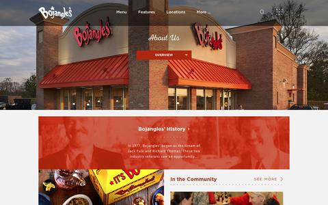 Screenshot of About Page bojangles.com - About Us - Bojangles' Famous Chicken 'n BiscuitsBojangles' Famous Chicken 'n Biscuits - captured July 23, 2016