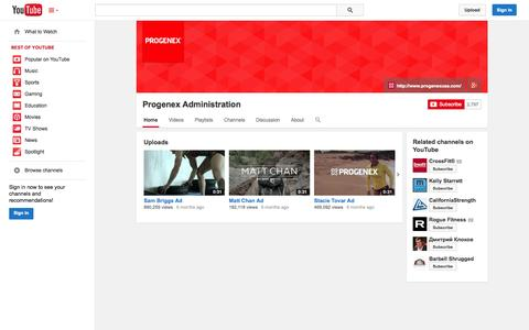 Screenshot of YouTube Page youtube.com - Progenex Administration  - YouTube - captured Oct. 22, 2014