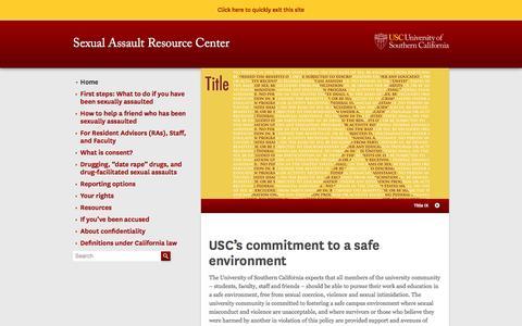Screenshot of usc.edu - Sexual Assault Resource Center | USC - captured March 20, 2016