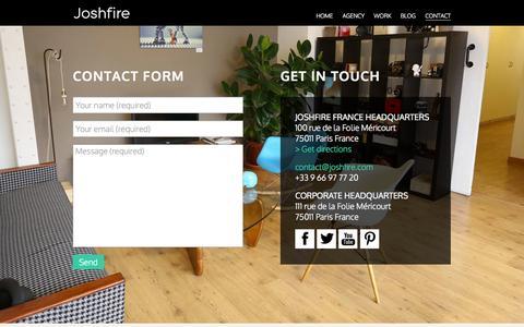 Screenshot of Contact Page joshfire.com - Joshfire - captured Sept. 16, 2014
