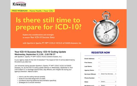 Screenshot of Landing Page kinnser.com - Free Webcast | Your ICD-10 Success Story | Includes CE Credit! - captured Aug. 20, 2016