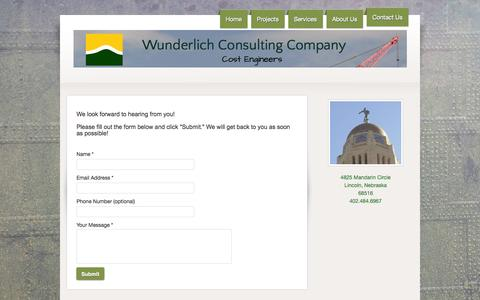 Screenshot of Contact Page wunderlichconsulting.com - Wunderlich Consulting Company - Contact Us - captured Oct. 26, 2014