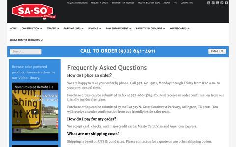 Screenshot of FAQ Page sa-so.com - SA-SO Traffic, Safety and Facility Products - FAQ - captured Nov. 15, 2016