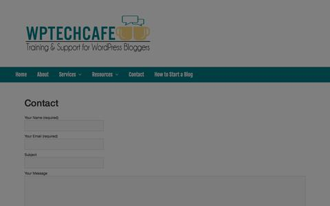 Screenshot of Contact Page wptechcafe.com - Contact - WP Tech Cafe - captured July 7, 2018