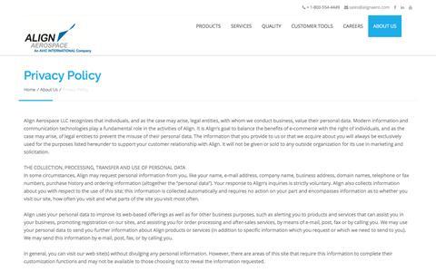 Screenshot of Privacy Page alignaero.com - Privacy Policy - Align Aerospace - captured Nov. 20, 2016