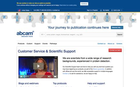 Screenshot of Support Page abcam.com - Customer Service and Scientific Support - captured Dec. 3, 2015