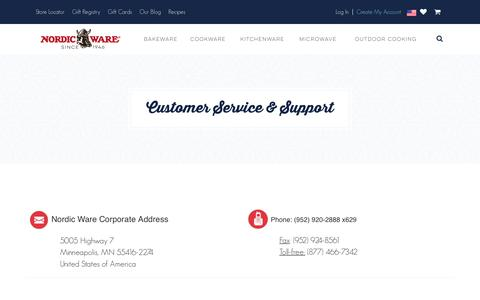 Screenshot of Support Page nordicware.com - Customer Service & Support - captured June 29, 2017