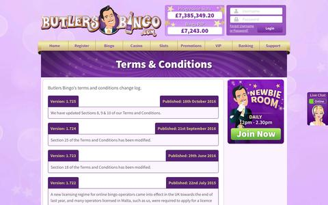 Screenshot of Terms Page butlersbingo.com - Butlers Bingo - captured Feb. 7, 2017