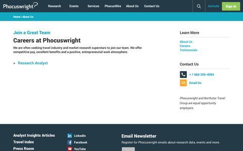 Screenshot of Jobs Page phocuswright.com - Careers: Phocuswright - captured Sept. 21, 2018