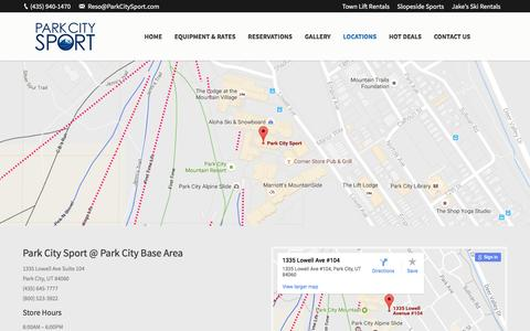 Screenshot of Locations Page parkcitysport.com - Utah Ski and Snowboard Rental Locations | Park City Sport - captured May 14, 2017