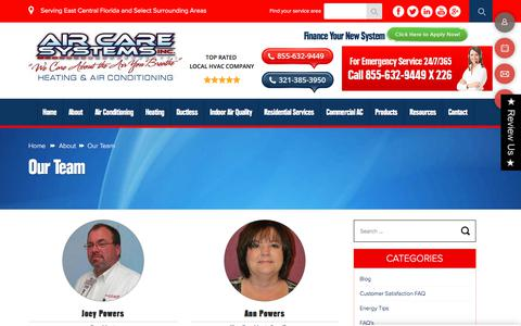 Screenshot of Team Page aircaresystemsinc.com - Our Team - Air Care Systems, Inc. - captured Oct. 7, 2017