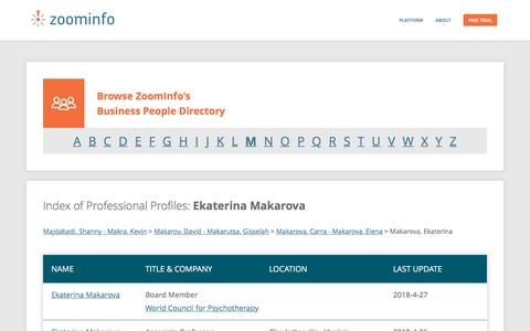 Screenshot of Team Page zoominfo.com - Ekaterina Makarova: Business Profiles | ZoomInfo.com - captured May 21, 2018