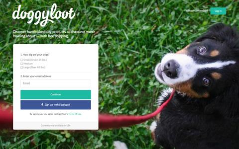 Screenshot of Home Page doggyloot.com - Doggyloot - Let's spoil your dog with irresistible deals - captured Sept. 15, 2014
