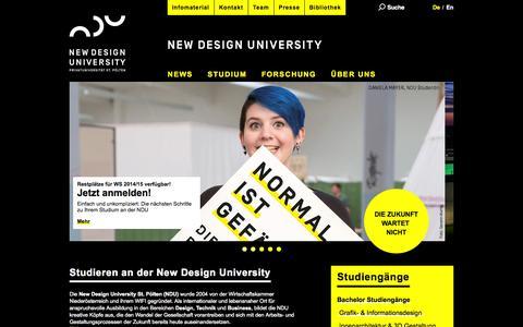 Screenshot of Home Page ndu.ac.at - New Design University - NDU - captured Sept. 25, 2014