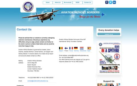 Screenshot of Contact Page aviationwithoutborders.org - Contact Us | Aviation Without Borders - captured July 31, 2018