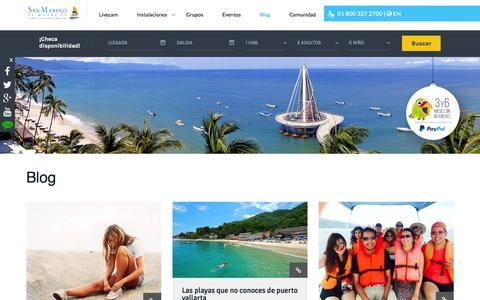Screenshot of Blog hotelsanmarino.com - Blog. Hotel San Marino. Puerto Vallarta - captured Jan. 20, 2016