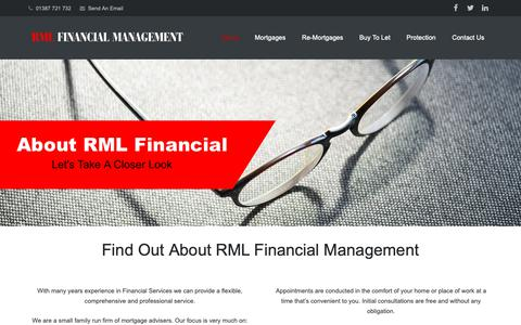 Screenshot of About Page rmlfinancialmanagement.co.uk - About RML Financial Management | Dumfries Financial Services - captured Nov. 19, 2018