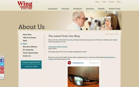 Screenshot of Press Page wingeyecare.com - Wing Eyecare News & Information - captured Oct. 1, 2014