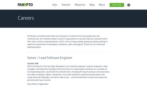 Screenshot of Jobs Page panopto.com - Careers | Panopto Video Platform - captured July 18, 2014