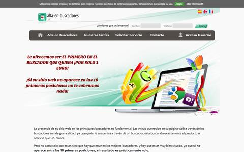 Screenshot of Home Page alta-en-buscadores.biz - Alta en buscadores. Alta y posicionamiento en buscadores. Alta con garantia de posicionamiento en los principales buscadores - captured Oct. 19, 2015