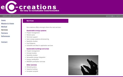 Screenshot of Services Page eco-creations.es - Services - captured Sept. 29, 2014