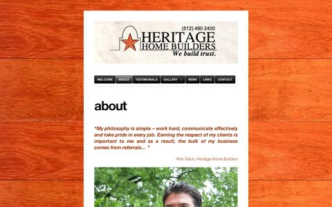 Screenshot of About Page wordpress.com - about | Heritage Home Builders - captured Sept. 12, 2014