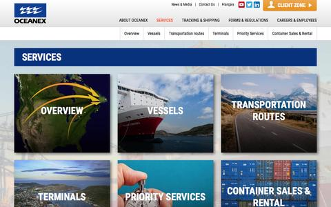 Screenshot of Services Page oceanex.com - Our Intermodal Transport Services | Oceanex - captured Feb. 13, 2016