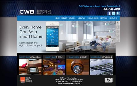 Screenshot of Home Page cwbsmarthome.com - Home Automation, Theaters, and Security In Miami, Broward, and Palm Beach - captured Oct. 6, 2014