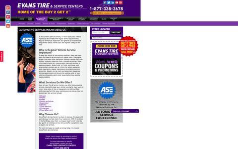 Screenshot of Services Page evanstire.com - Automotive Services - San Diego, CA - Evans Tire & Service Centers - captured July 16, 2016