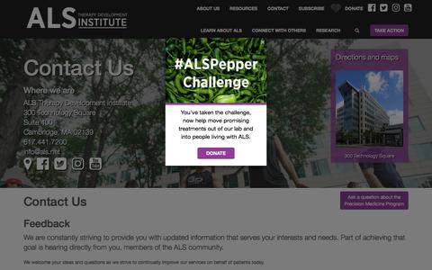 Screenshot of Contact Page als.net - Contact Us | ALS Therapy Development Institute - captured Jan. 26, 2018