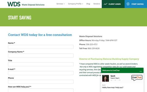 Screenshot of Contact Page wastedisposalsolutions.com - Start Saving | Waste Disposal Solutions - captured March 13, 2017