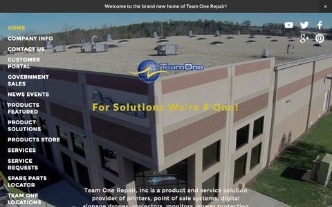 Screenshot of Home Page teamonerepair.com - Team One Repair Inc. - captured Aug. 12, 2015