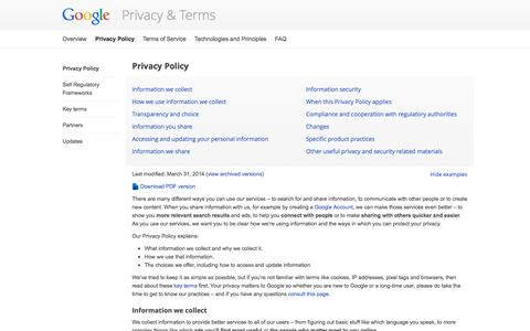 Screenshot of YouTube Page google.com - Privacy Policy – Privacy & Terms – Google - captured Nov. 2, 2014