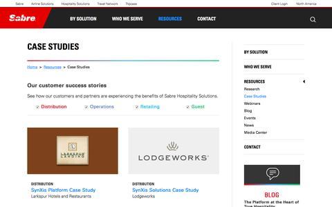 Screenshot of Case Studies Page sabrehospitality.com - Sabre Hospitality :: Case Studies - captured Sept. 28, 2016