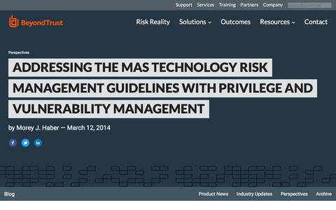 Screenshot of Team Page beyondtrust.com - Addressing the MAS Technology Risk Management Guidelines with Privilege and Vuln | BeyondTrust - captured Jan. 3, 2020