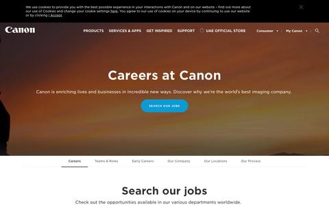 Screenshot of Jobs Page canon-me.com - Canon Careers & Jobs - Canon Middle East - captured May 13, 2019