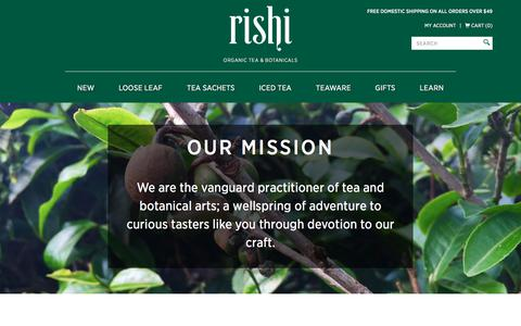 Screenshot of About Page rishi-tea.com - Origins of Rishi Tea - captured Sept. 7, 2017