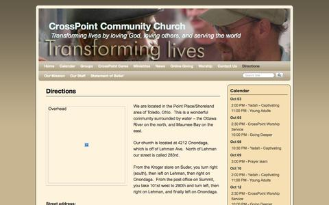 Screenshot of Maps & Directions Page icrosspoint.com - Directions | CrossPoint Community Church - captured Oct. 3, 2014