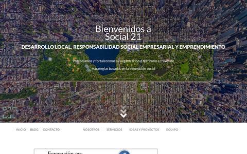 Screenshot of Menu Page innovacionsocial21.org - Contacto           |            Social 21. Desarrollo Local, Emprendimiento Social y RSE en Sevilla - captured Oct. 3, 2014